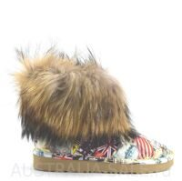 Дизайнерские UGG Fox Fur Travel Orange Угги мини с лисой от Джимми Чу с рисунком